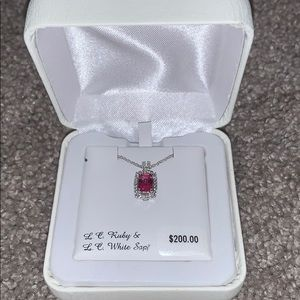 Never worn ruby and white sapphire necklace